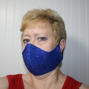 HANDMADE Blue Sequin Fabric Face Mask Shield